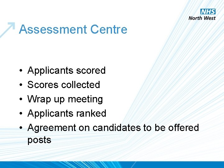 Assessment Centre • • • Applicants scored Scores collected Wrap up meeting Applicants ranked