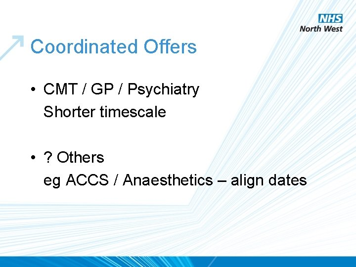 Coordinated Offers • CMT / GP / Psychiatry Shorter timescale • ? Others eg