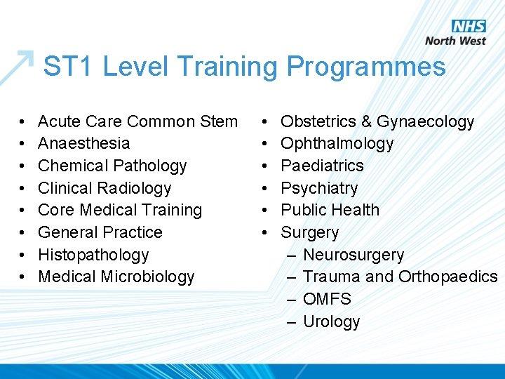 ST 1 Level Training Programmes • • Acute Care Common Stem Anaesthesia Chemical Pathology