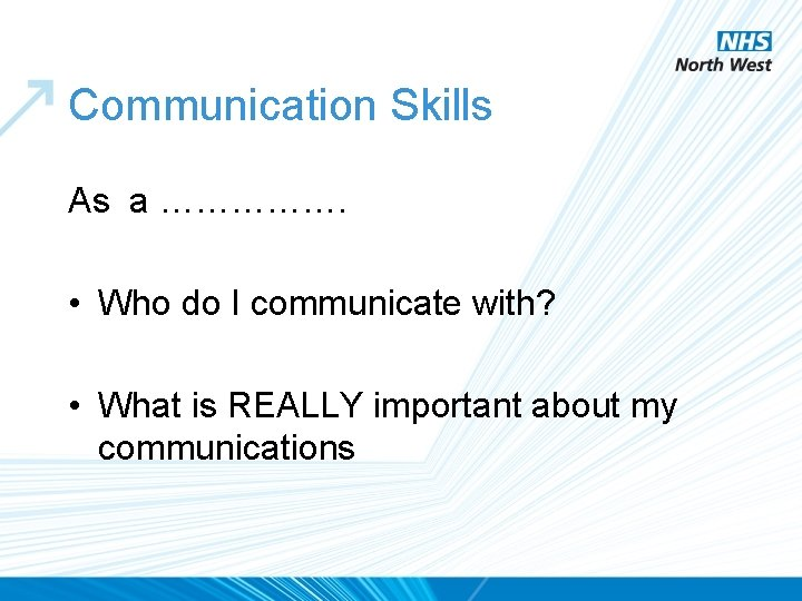 Communication Skills As a ……………. • Who do I communicate with? • What is