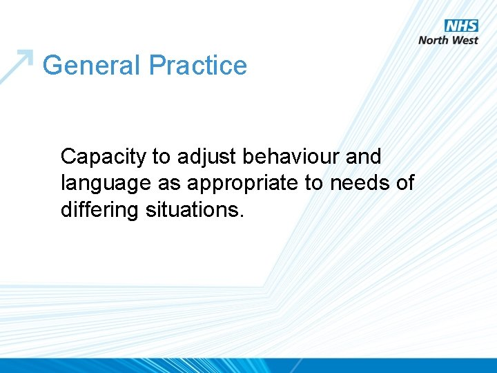 General Practice Capacity to adjust behaviour and language as appropriate to needs of differing