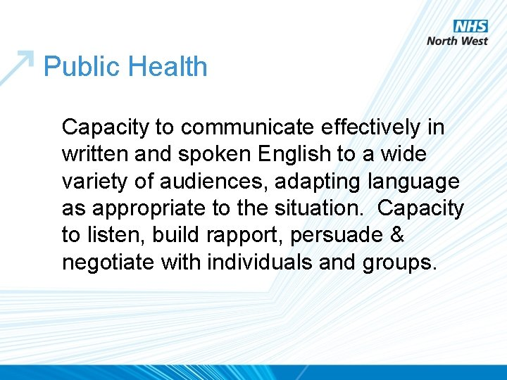 Public Health Capacity to communicate effectively in written and spoken English to a wide