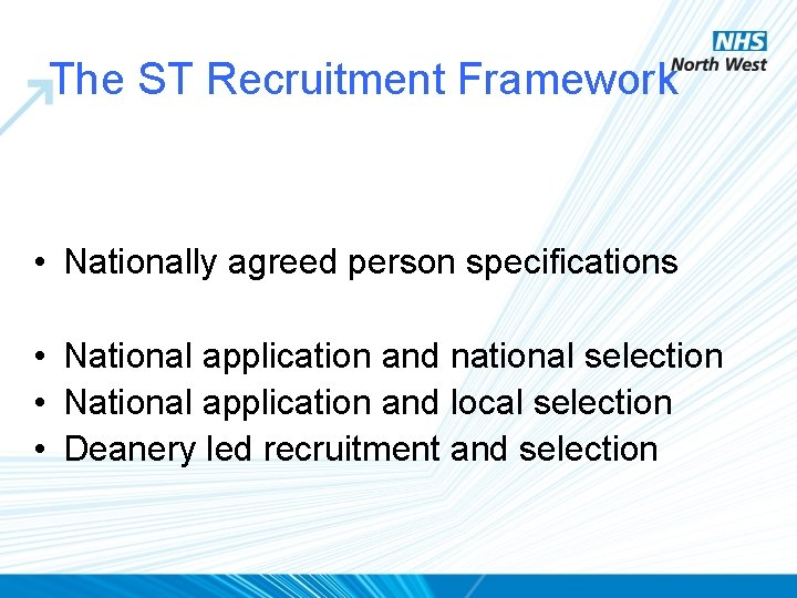 The ST Recruitment Framework • Nationally agreed person specifications • National application and national