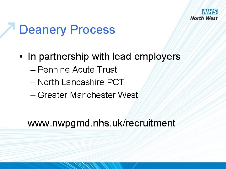 Deanery Process • In partnership with lead employers – Pennine Acute Trust – North
