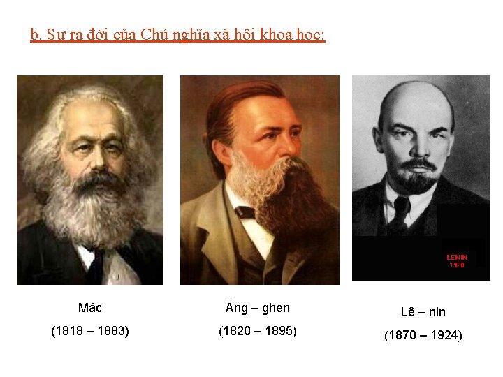 b. Sự ra đời của Chủ nghĩa xã hội khoa học: Mác Ăng –