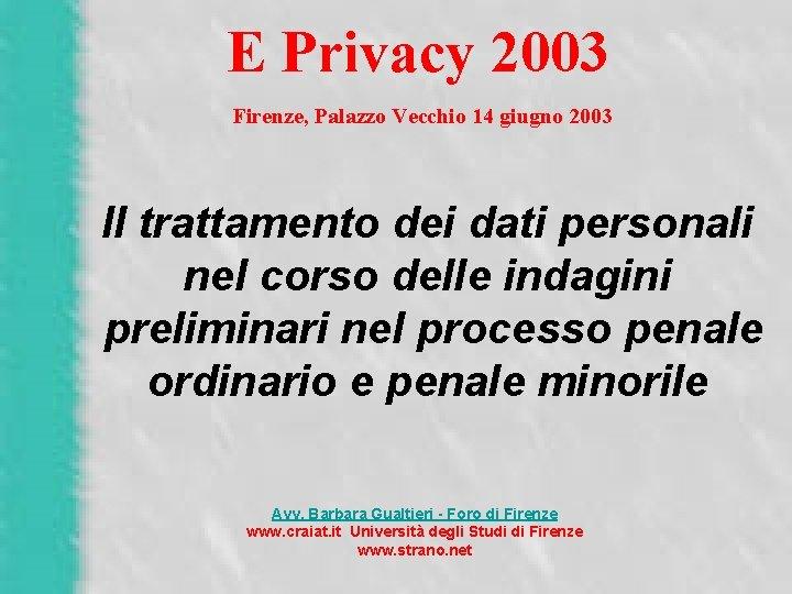 E Privacy 2003 Firenze, Palazzo Vecchio 14 giugno 2003 Il trattamento dei dati personali