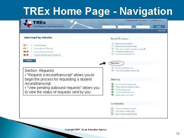 """TREx Home Page - Navigation Section: Requests • """"Request a record/transcript"""" allows you to"""