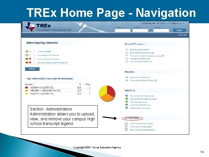 TREx Home Page - Navigation Section: Administration allows you to upload, view, and remove