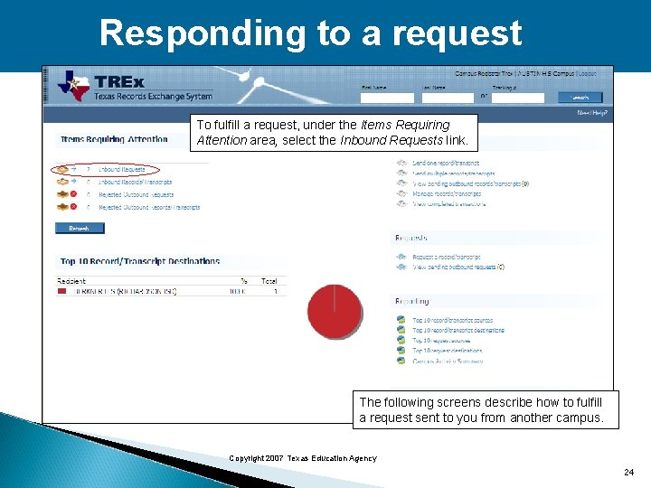 Responding to a request To fulfill a request, under the Items Requiring Attention area,