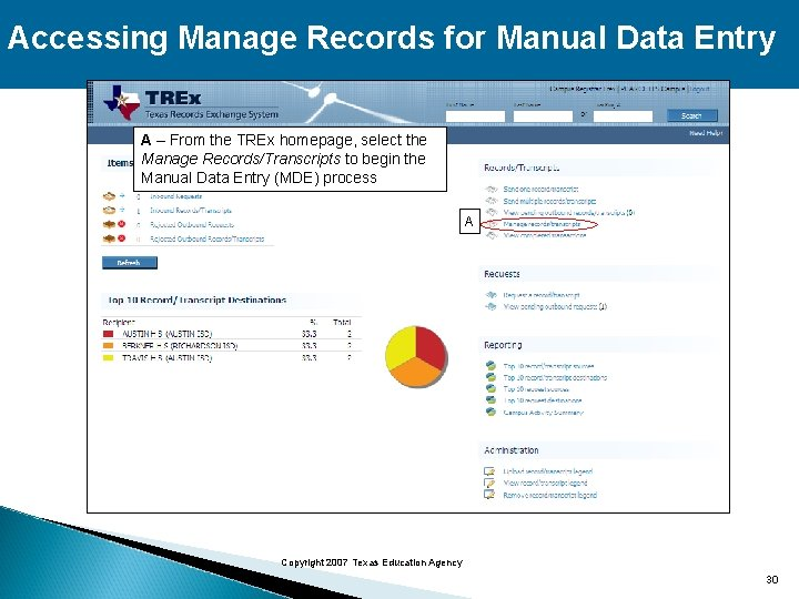 Accessing Manage Records for Manual Data Entry A – From the TREx homepage, select