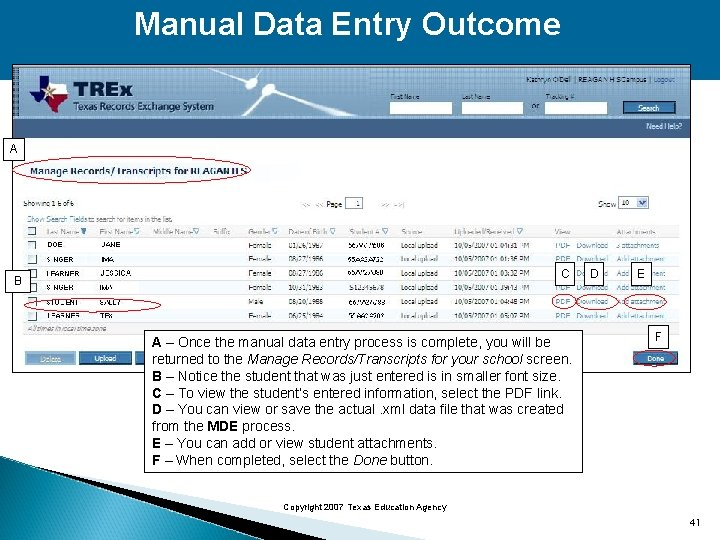Manual Data Entry Outcome A C B A – Once the manual data entry
