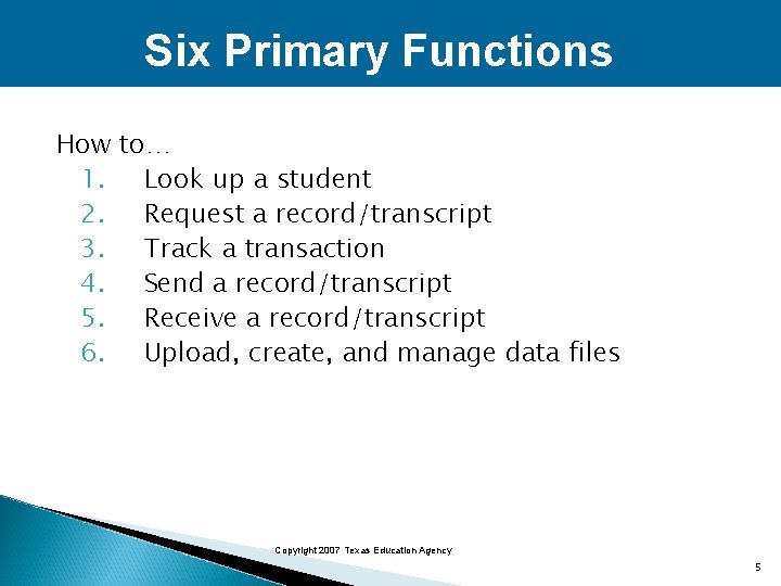 Six Primary Functions How to… 1. Look up a student 2. Request a record/transcript