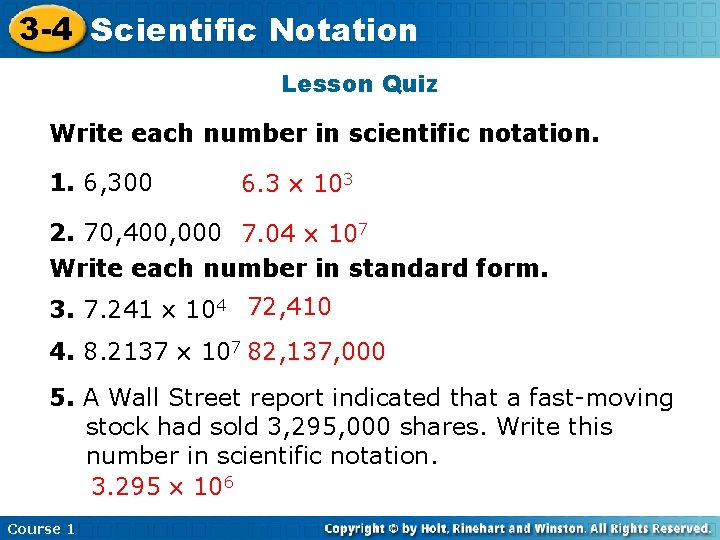 3 -4 Scientific Insert Lesson Notation Title Here Lesson Quiz Write each number in