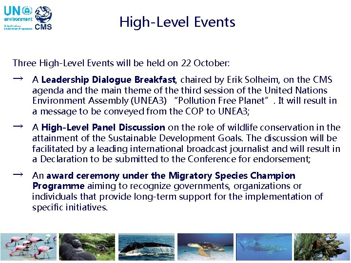 High-Level Events Three High-Level Events will be held on 22 October: → A Leadership