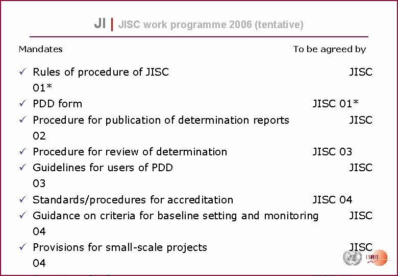 JI | JISC work programme 2006 (tentative) Mandates To be agreed by ü Rules