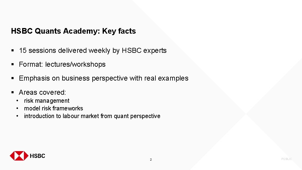 HSBC Quants Academy: Key facts § 15 sessions delivered weekly by HSBC experts §