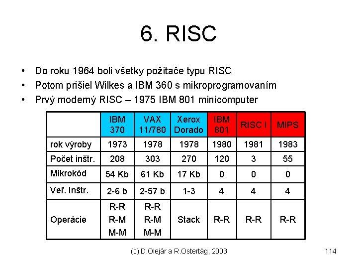 6. RISC • Do roku 1964 boli všetky požítače typu RISC • Potom prišiel