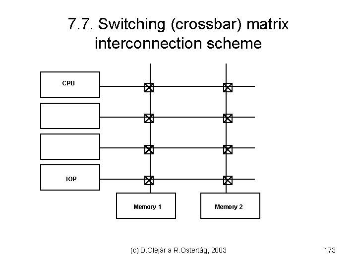 7. 7. Switching (crossbar) matrix interconnection scheme CPU IOP Memory 1 Memory 2 (c)