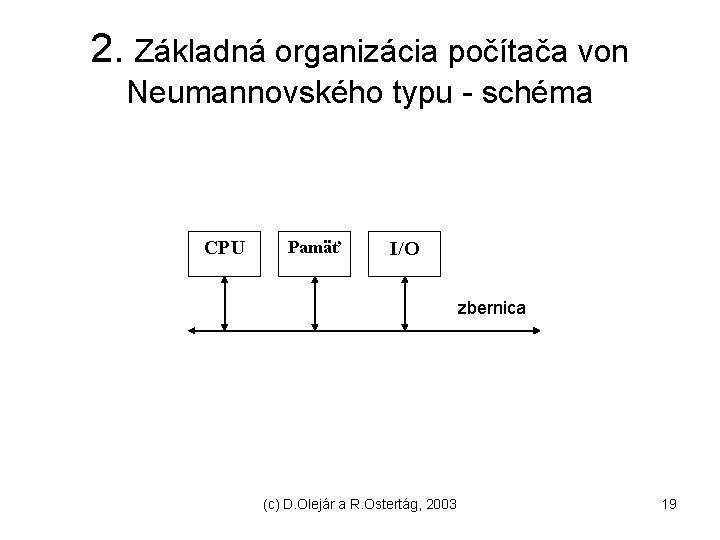 2. Základná organizácia počítača von Neumannovského typu - schéma CPU Pamäť I/O zbernica (c)