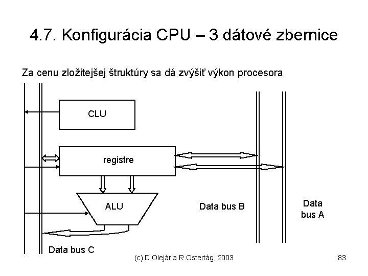 4. 7. Konfigurácia CPU – 3 dátové zbernice Za cenu zložitejšej štruktúry sa dá