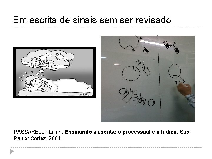 Em escrita de sinais sem ser revisado PASSARELLI, Lílian. Ensinando a escrita: o processual