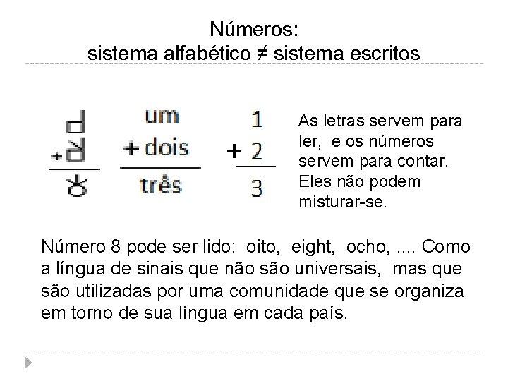 Números: sistema alfabético ≠ sistema escritos As letras servem para ler, e os números