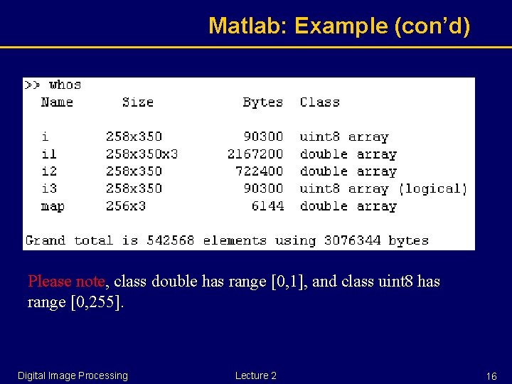 Matlab: Example (con'd) Please note, class double has range [0, 1], and class uint