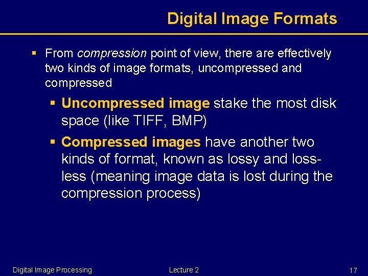 Digital Image Formats § From compression point of view, there are effectively two kinds