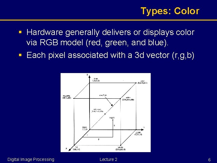 Types: Color § Hardware generally delivers or displays color via RGB model (red, green,