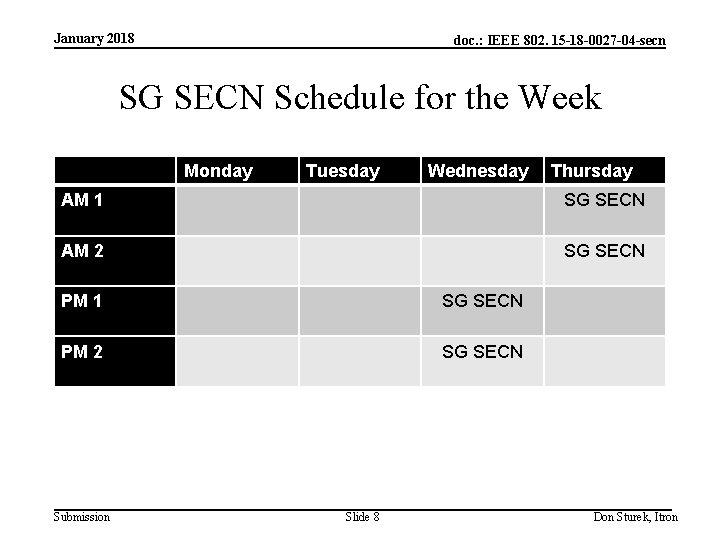 January 2018 doc. : IEEE 802. 15 -18 -0027 -04 -secn SG SECN Schedule
