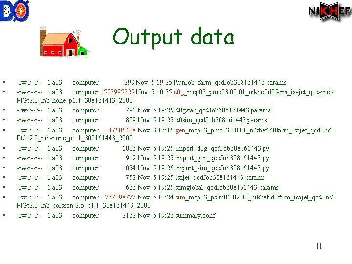 Output data • • • -rw-r--r-- 1 a 03 computer 298 Nov 5 19: