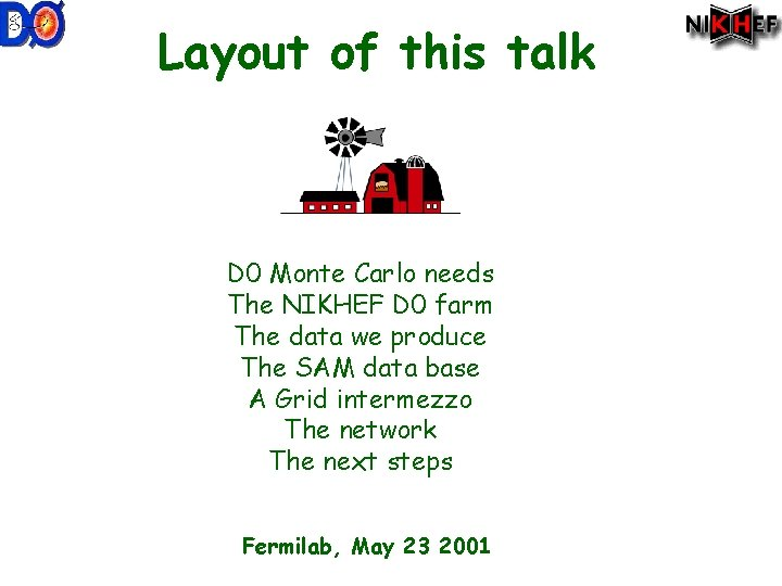 Layout of this talk D 0 Monte Carlo needs The NIKHEF D 0 farm