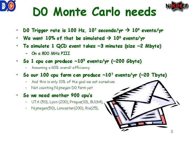 D 0 Monte Carlo needs • D 0 Trigger rate is 100 Hz, 107