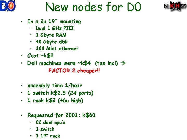 """New nodes for D 0 • In a 2 u 19"""" mounting • •"""