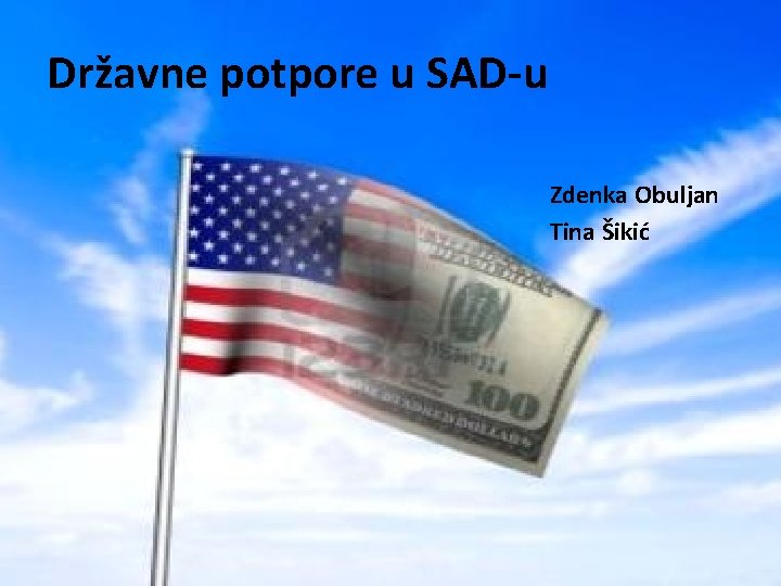 Državne potpore u SAD-u Zdenka Obuljan Tina Šikić