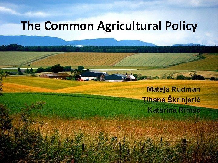 The Common Agricultural Policy Mateja Rudman Tihana Škrinjarić Katarina Rimac