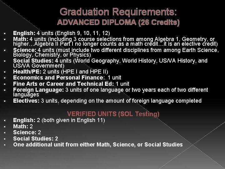 Graduation Requirements: ADVANCED DIPLOMA (26 Credits) § § § § § English: 4 units