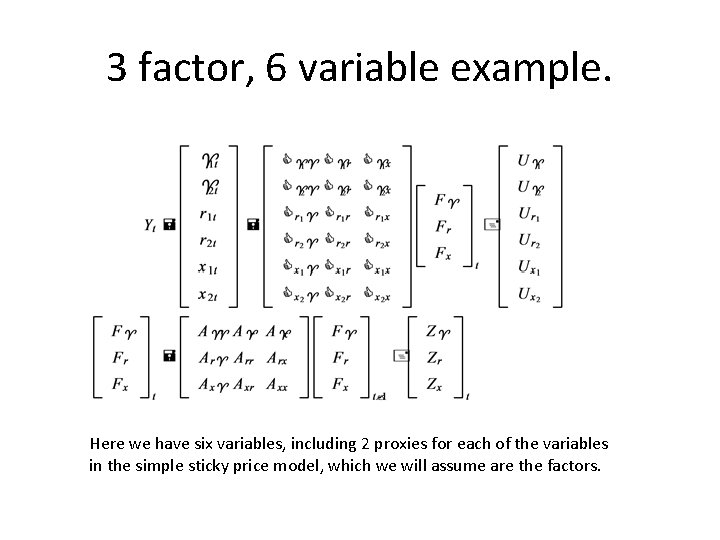 3 factor, 6 variable example. Here we have six variables, including 2 proxies for
