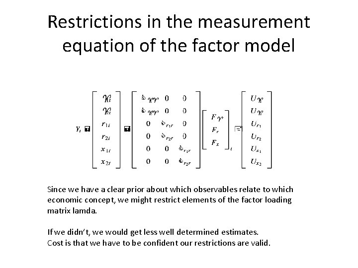 Restrictions in the measurement equation of the factor model Since we have a clear