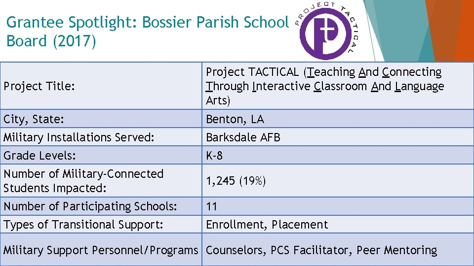 Grantee Spotlight: Bossier Parish School Board (2017) Project Title: Project TACTICAL (Teaching And Connecting