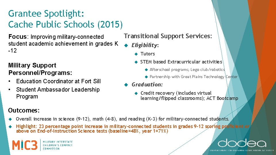 Grantee Spotlight: Cache Public Schools (2015) Focus: Improving military-connected Transitional Support Services: student academic
