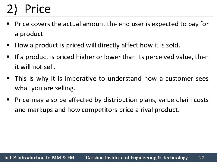 2) Price § Price covers the actual amount the end user is expected to