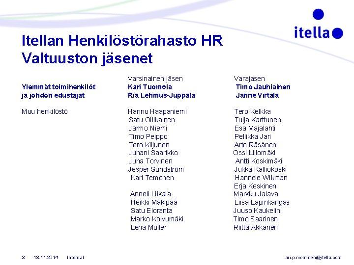 Itellan Henkilöstörahasto HR Valtuuston jäsenet Ylemmät toimihenkilöt ja johdon edustajat Varsinainen jäsen Kari Tuomola