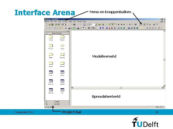 Interface Arena Menu en knoppenbalken Modelleerveld Spreadsheetveld 7 september 2011 Project-bar 50