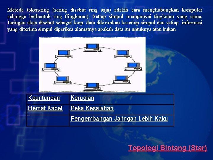 Metode token-ring (sering disebut ring saja) adalah cara menghubungkan komputer sehingga berbentuk ring (lingkaran).