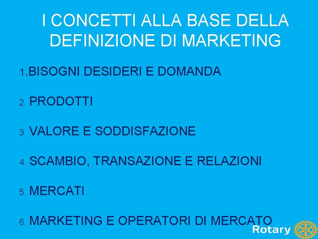 I CONCETTI ALLA BASE DELLA DEFINIZIONE DI MARKETING 1. BISOGNI DESIDERI E DOMANDA 2.
