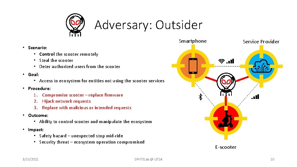 Adversary: Outsider Smartphone Service Provider • Scenario: • Control the scooter remotely • Steal