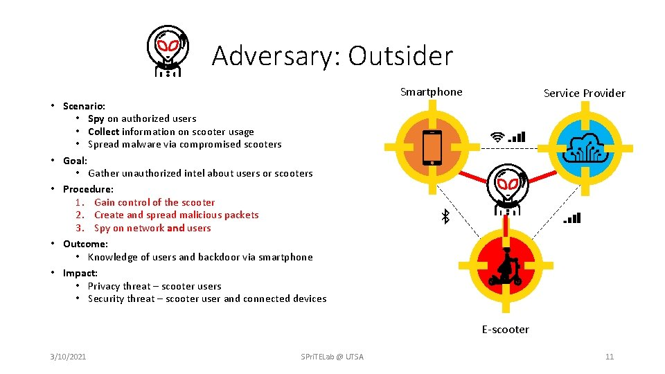 Adversary: Outsider • Scenario: • Spy on authorized users • Collect information on scooter