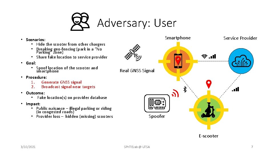Adversary: User • Scenarios: • Hide the scooter from other chargers • Breaking geo-fencing