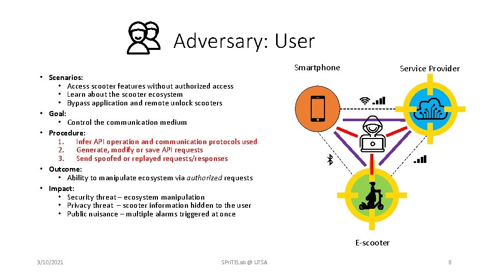 Adversary: User • Scenarios: • Access scooter features without authorized access • Learn about